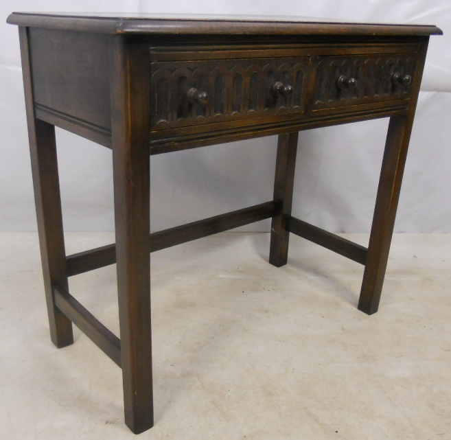 Good Antique Jacobean Style Dark Oak Side Table By Reprodux